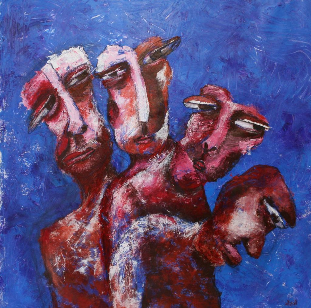 Title: Self-imposition Medium: Acrylic and charcoal on canvas Size: 41.5*42 inches / 105.41*106.68 cm (2018) Artist: gaurangi mehta shah