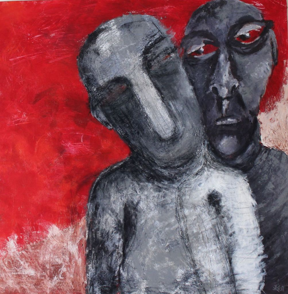 Title: Struggle with the Self Medium: Acrylic and charcoal on canvas Size: 36*36 inches / 91.44 * 91.44 cm (2018) Artist: gaurangi mehta shah