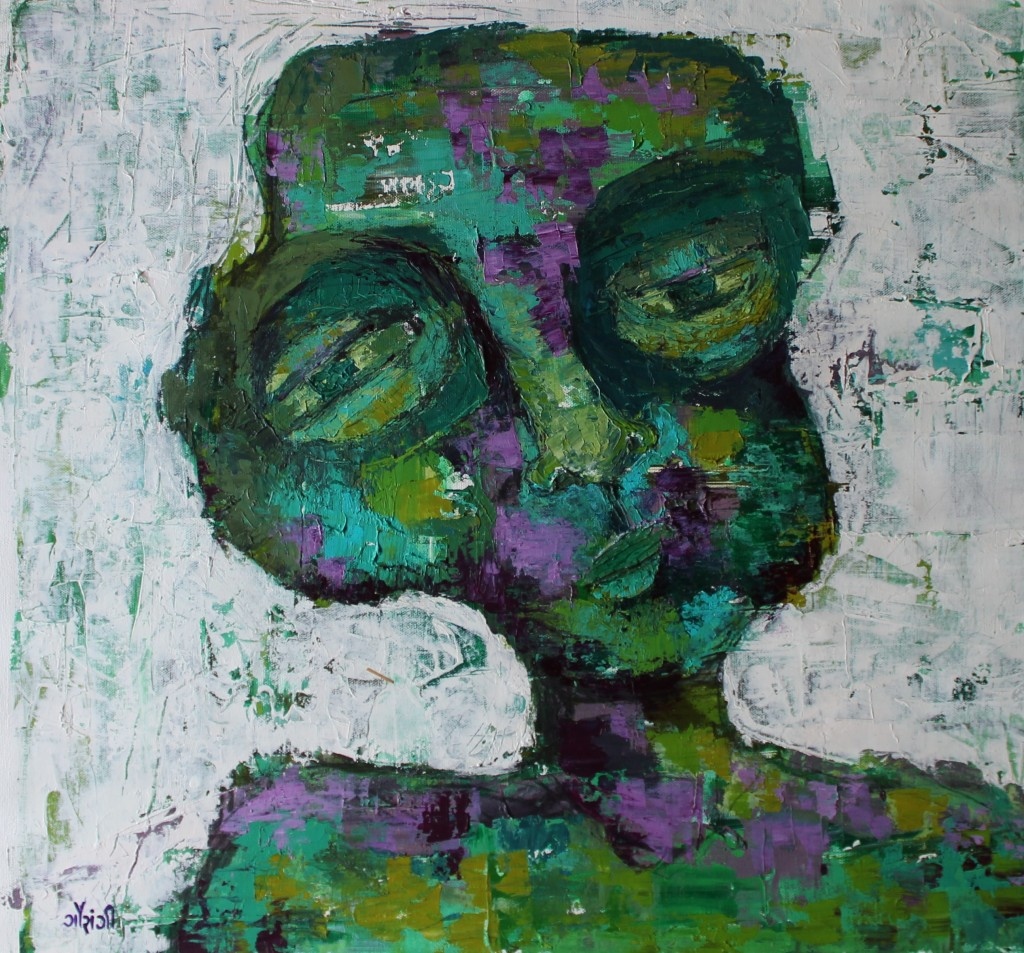 Title: Constantly procrastinating  Medium: Acrylic on canvas Size: 24*23 inches (2019) Artist: gaurangi mehta shah